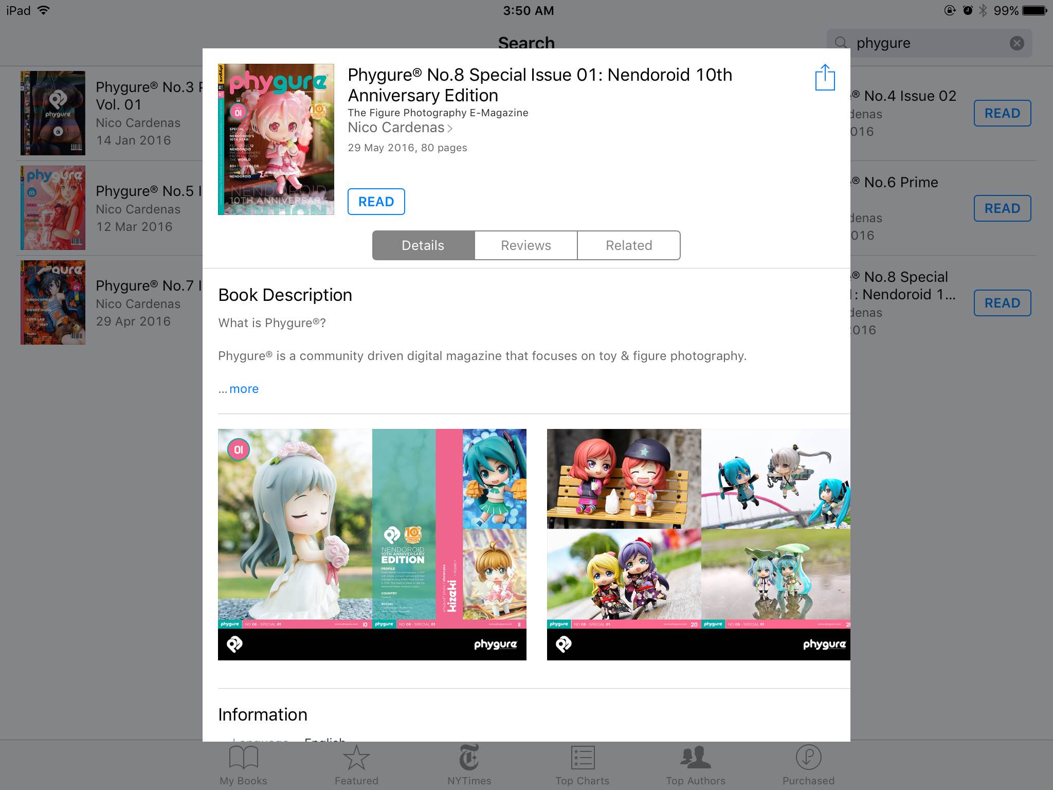 Phygure® No.8 Special Issue 01: Nendoroid 10th Anniversary Edition as seen on Apple iBooks.